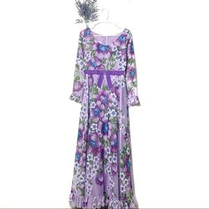 Vintage Miss Elliette 80s Purple Lilac Floral Gown